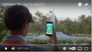 Skjermbilde fra Pokémon Go. Kilde: Skjermdump fra Pokemons Youtube-promovideo (http://www.pokemongo.com/en-us/).